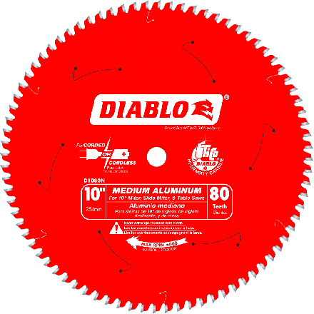 Freud D1080N Diablo 10 Inch 80 Tooth TCG Non-Ferrous Metal and Plastic Cutting Saw Blade