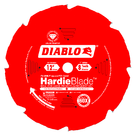 Freud D1208DH 12 Inch x 8 Tooth Diablo Polycrystalline Diamond Tipped TCG Hardie Fiber Cement Saw Blade