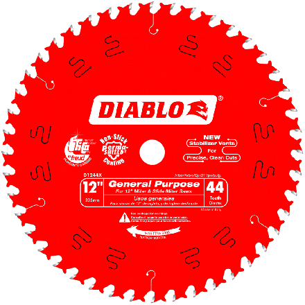 Freud D1244X Diablo 12 inch x 44-Tooth 1 inch Arbor Carded ATB Anti-Vibration General Purpose Blade