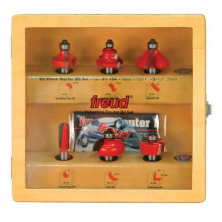 Freud 91-104 6-Piece Router Bit Starter Set 1/2-Inch Shank