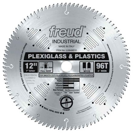 Freud LU94M012 12 Inch Diameter x 96T MTCG Plastic Carbide-Tipped Saw Blade with 1 Inch Arbor