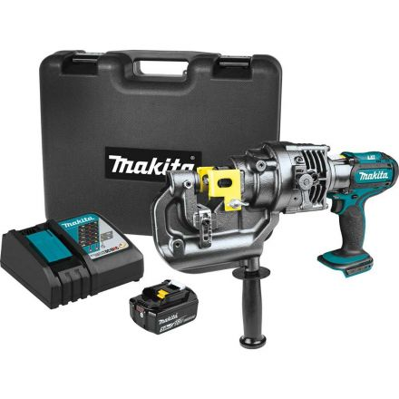Makita XPP01T1K 18V LXT Lithium-Ion Cordless 5/16 Inch Metal Hole Puncher Kit, case, with one battery (5.0Ah)