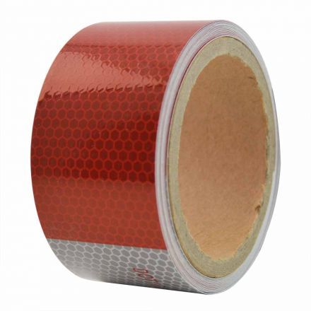 Superior Electric RVA1552 2 Inch x 15' ft High Visibility Conspicuity DOT-C2 Approved Reflective Safety Tape - 6 Inch Red / 6 Inch White - Automobile Vehicles, Trailers, Boats