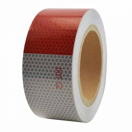Superior Electric RVA1553 2 Inch x 50' ft High Visibility Conspicuity DOT-C2 Approved Reflective Safety Tape - 6 Inch Red / 6 Inch White - Automobile Vehicles, Trailers, Boats